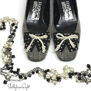 FERRAGAMO Tweed RIBBON BOW Pumps Heels Shoes 5.5